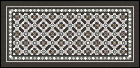 LEICHHARDT PATTERN laid on diagonal + Norwood 120 Border with extra super white strips + 100x100 carbon black Infill