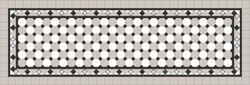 Oxley Checkerboard Pattern - Light grey octagon / Super white octagon & dot + Border + Infill