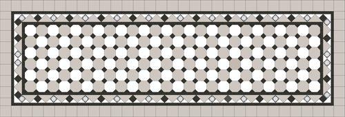 Oxley Checkerboard Pattern - Light grey octagon / Super white octagon & dot + Border + Infill