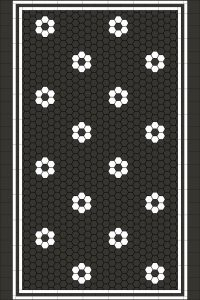 ATLANTA PATTERN SIMPLIFIED - CARBON BLACK & SUPER WHITE HEXAGON + TRIPLE STRIP BORDER + INFILL