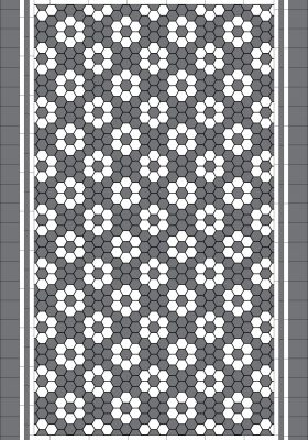 TORONTO PATTERN - DARK GREY & SUPER WHITE HEXAGON + TRIPLE STRIP BORDER + INFILL