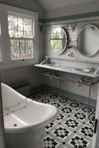 150X75 SNOW SUBWAY WALL TILES + EMBOSSED BORDERS + SKIRTING - NEWPORT PATTERN + NORWOOD BORDER + INFILL - TESSELLATED TILES