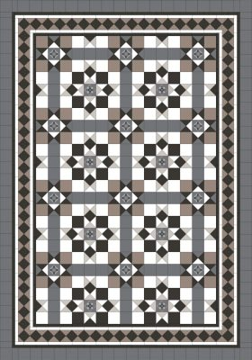 MELBOURNE PATTERN + NORWOOD 150 BORDER + EXTRA STRIPS + INFILL - RENDITIONS TESSELLATED TILES