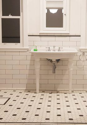 55mm VITRIFIED PORCELAIN HEXAGON - AUGUSTA PATTERN + SINGLE STRIP BORDER + INFILL - 300X100 SNOW SUBWAY TILE + BORDER & CAPPING