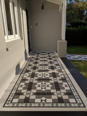 MELBOURNE PATTERN + NORWOOD BORDER + ENCAUSTICS + SOFT WHITE INFILL - RENDITIONS TESSELLATED TILES