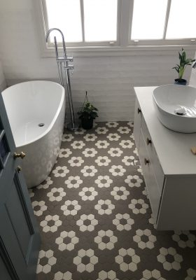 55mm VITRIFIED PORCELAIN HEXAGON - TORONTO PATTERN IN LATTE AND SOFT WHITE - SUBWAY WALL TILES - RENDITIONS TILES