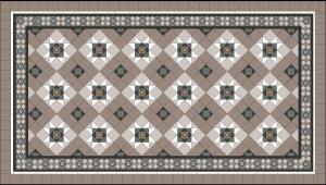 Ballarat Pattern Laid on diagonal + Grand Norwood 150 Border with extra super white strips + 100x100 Latte Infill